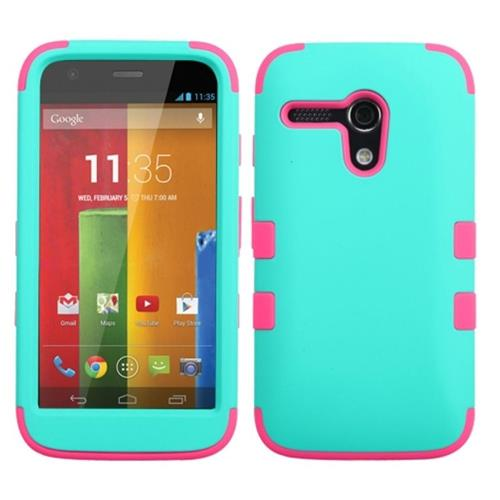 Insten Hard Dual Layer Rubber Coated Silicone Case For Motorola Moto G(1st Gen),Light Blue/Hot Pink