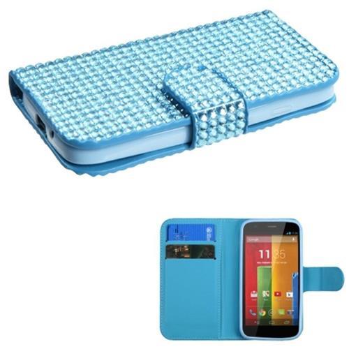 Insten Synthetic Leather Rhinestone Case w/card slot For Motorola Moto G(1st Gen), Blue