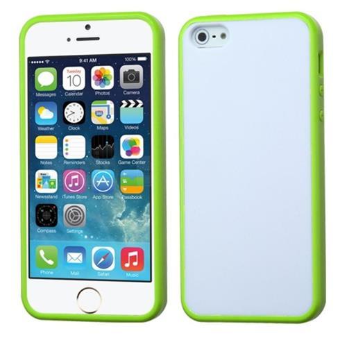 Insten Rubber Cover Case For Apple iPhone 5/5S/SE, White/Green