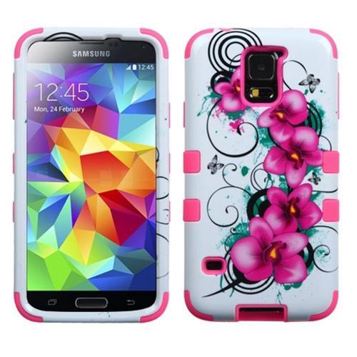 Insten Tuff Hard Hybrid Silicone Case For Samsung Galaxy S5, Pink/White