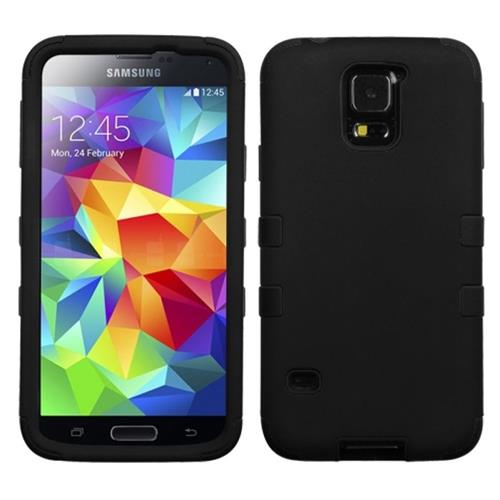 Insten Tuff Hard Hybrid Rubber Silicone Cover Case For Samsung Galaxy S5, Black