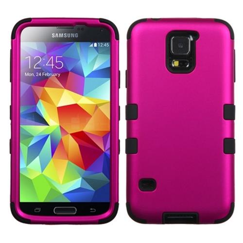 Insten Tuff Hard Hybrid Rubber Silicone Case For Samsung Galaxy S5, Hot Pink/Black