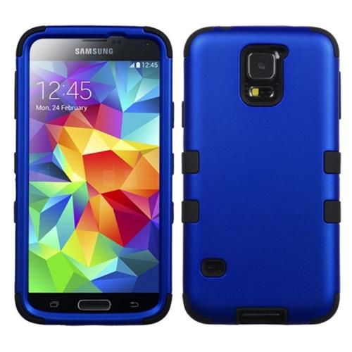 Insten Tuff Hard Dual Layer Rubber Silicone Cover Case For Samsung Galaxy S5, Dark Blue/Black