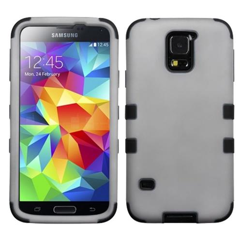 Insten Tuff Hard Dual Layer Silicone Case For Samsung Galaxy S5, Gray/Black
