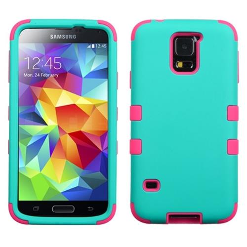 Insten Tuff Hard Dual Layer Rubberized Silicone Case For Samsung Galaxy S5, Turquoise/Hot Pink