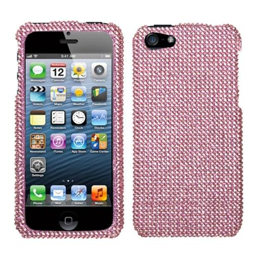 Insten Hard Rhinestone Case For Apple iPhone 5/5S/SE, Pink
