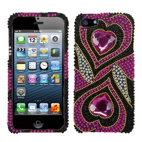 Insten Hearts Hard Rhinestone Cover Case For Apple iPhone 5/5S/SE