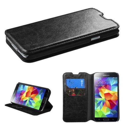 Insten Flip Leather Fabric Case w/stand/card slot For Samsung Galaxy S5, Black