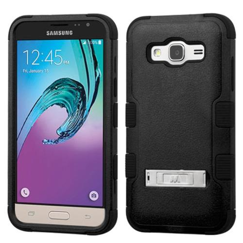 Insten Hard Dual Layer Rubber Silicone Case w/stand For Samsung Galaxy Amp Prime/J3(2016), Black