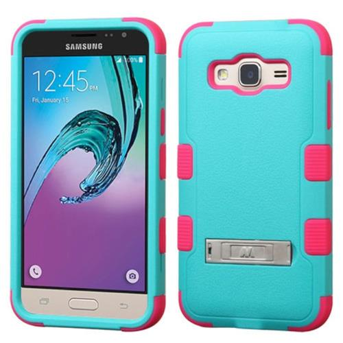 Insten Hybrid Rubberized Silicone Case w/stand For Samsung Galaxy Amp Prime/J3(2016),Teal/Hot Pink