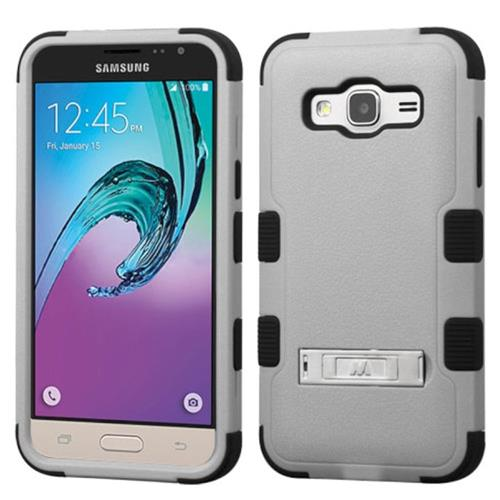 Insten Hybrid Dual Layer Case w/stand For Samsung Galaxy Amp Prime/J3(2016),Gray/Black