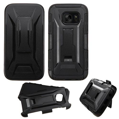 Insten Hard Dual Layer Plastic Silicone Case w/stand/Holster For Samsung Galaxy S7, Black