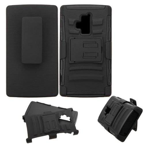 Insten Hard Dual Layer Plastic Silicone Cover Case w/stand/Holster For Coolpad Rogue, Black