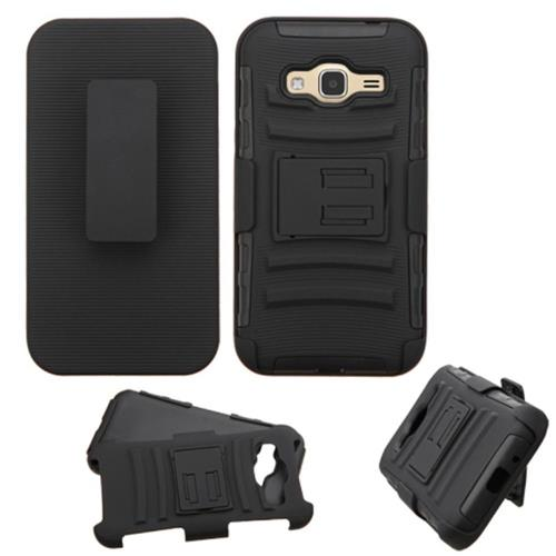 Insten Hard Dual Layer Case w/stand/Holster For Samsung Galaxy Amp Prime/J3(2016),Black