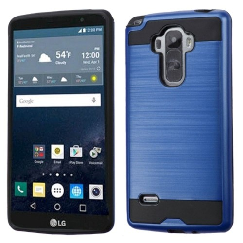 Insten Hard Dual Layer Rubberized Silicone Case For LG G Stylo, Blue/Black