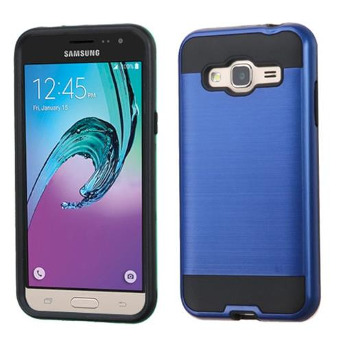 Insten Hard Dual Layer Rubber Silicone Cover Case For Samsung Galaxy Amp Prime/J3(2016), Blue/Black