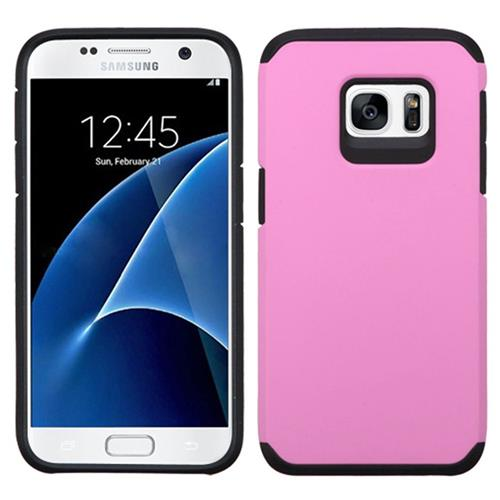 Insten Hard Dual Layer Rubberized Silicone Case For Samsung Galaxy S7, Pink/Black