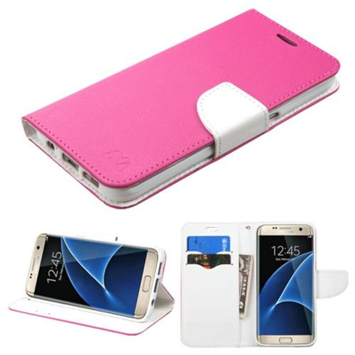 Insten Flip Leather Fabric Case w/stand/card holder For Samsung Galaxy S7 Edge,Hot Pink/White