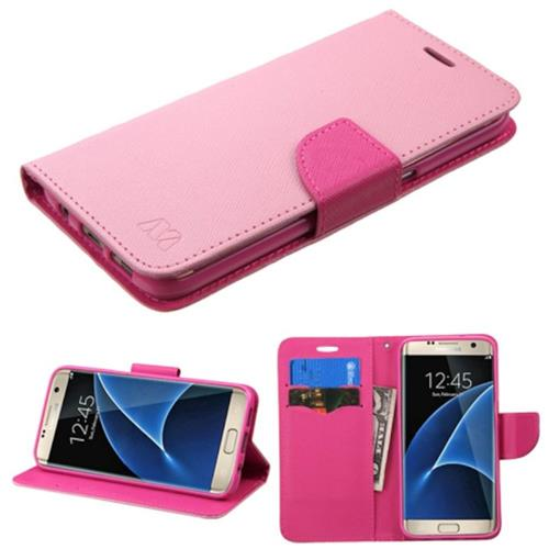 Insten Flip Leather Fabric Cover Case w/stand/card slot For Samsung Galaxy S7 Edge, Pink