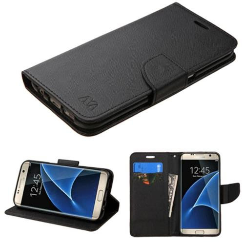 Insten Folio Leather Fabric Case w/stand/card holder For Samsung Galaxy S7 Edge, Black