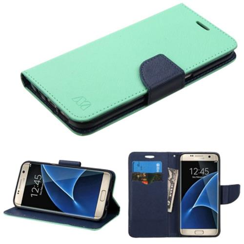 Insten Flip Leather Fabric Cover Case w/stand/card holder For Samsung Galaxy S7 Edge, Green/Blue