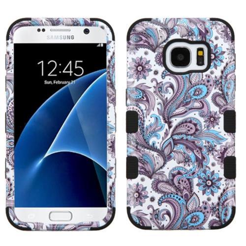 Insten Tuff European Flowers Hard Hybrid Silicone Case For Samsung Galaxy S7, Purple/White