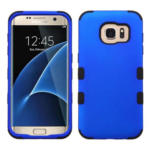Insten Tuff Hard Dual Layer Rubberized Silicone Case For Samsung Galaxy S7 Edge, Blue/Black