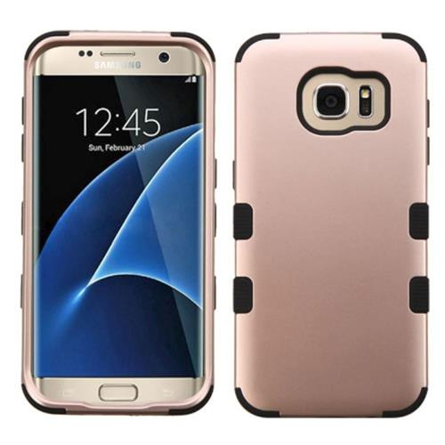 Insten Tuff Hard Hybrid Silicone Cover Case For Samsung Galaxy S7 Edge, Rose Gold/Black