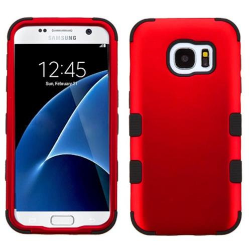 Insten Tuff Hard Hybrid Rubber Silicone Case For Samsung Galaxy S7, Red/Black