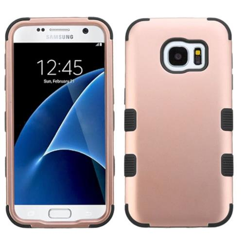 Insten Tuff Hard Hybrid Silicone Cover Case For Samsung Galaxy S7, Rose Gold/Black