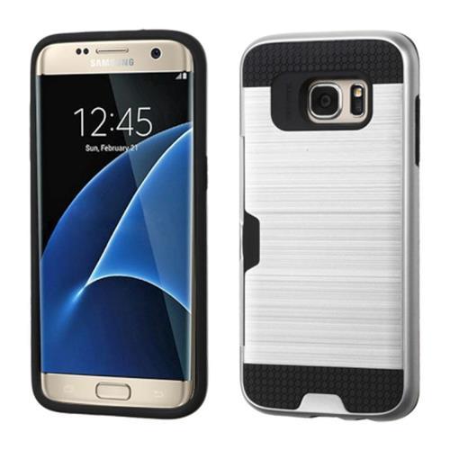 Insten Hard Hybrid Silicone Case w/card slot For Samsung Galaxy S7 Edge, Silver/Black