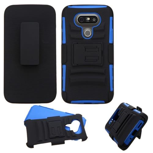 Insten Hard Dual Layer Plastic Silicone Cover Case w/stand/Holster For LG G5, Black/Blue