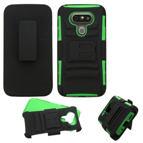 Insten Hard Dual Layer Plastic Silicone Case w/stand/Holster For LG G5, Black/Green