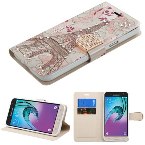 Insten Eiffel Tower Leather Case w/stand/card slot For Samsung Galaxy Amp Prime/J3(2016),Pink/White