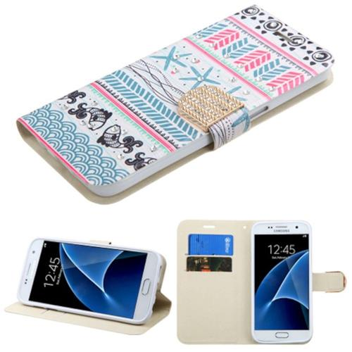 Insten Jumping Fishes Leather Fabric Case w/stand/card slot/Diamond For Samsung Galaxy S7,Pink/Blue