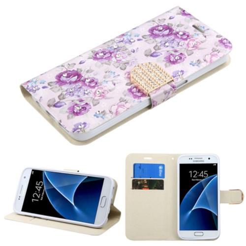 Insten Flowers Leather Fabric Case w/stand/card holder/Diamond For Samsung Galaxy S7,Purple/White