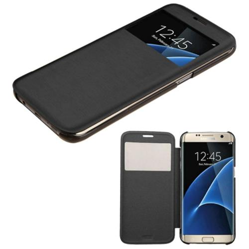 Insten Book-Style Leather Fabric Case For Samsung Galaxy S7 Edge, Black