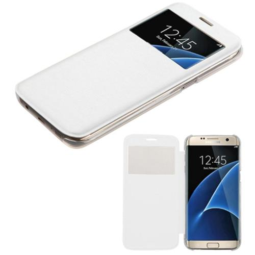 Insten Flip Leather Fabric Cover Case For Samsung Galaxy S7 Edge, White