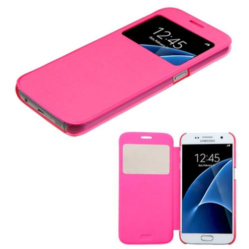 Insten Folio Leather Fabric Cover Case For Samsung Galaxy S7, Hot Pink