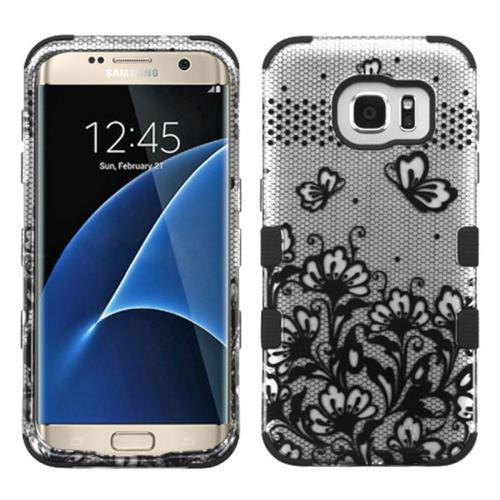 Insten Tuff Lace Flowers Hard Dual Layer Rubberized Silicone Case For Samsung Galaxy S7 Edge, Black