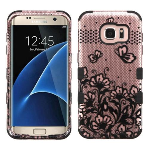 Insten Tuff Lace Flowers Hard Hybrid Silicone Case For Samsung Galaxy S7 Edge,Rose Gold/Black