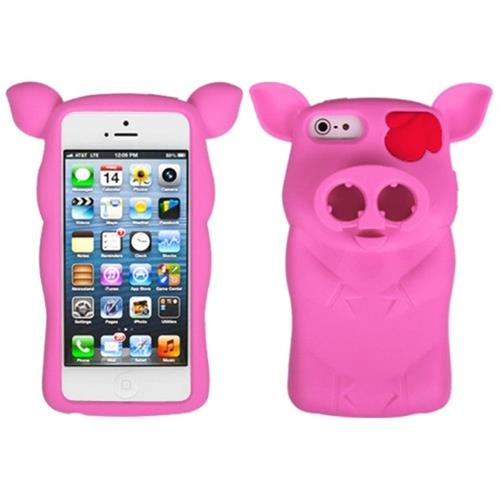 Insten Pig Rubber 3D Cover Case For Apple iPhone 5/5S/SE, Hot Pink