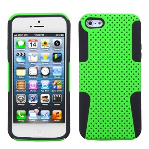 Insten Astronoot Mesh Hard Hybrid Rubber Silicone Case For Apple iPhone 5/5S/SE, Neon Green/Black