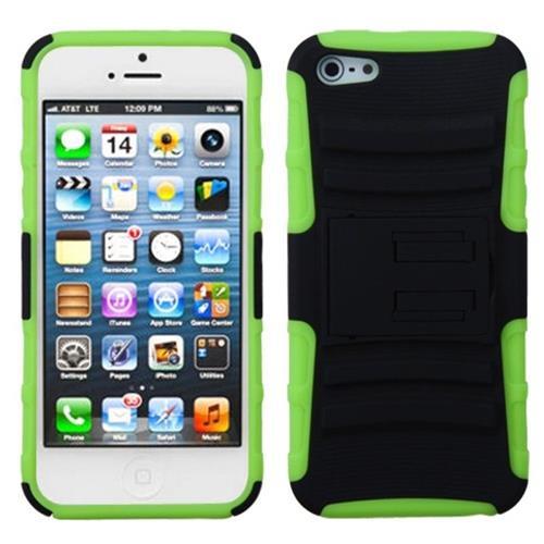 Insten Advanced Armor Hybrid Case w/stand For Apple iPhone 5/5S/SE,Black/Neon Green