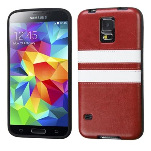 Insten Leather TPU Case For Samsung Galaxy S5, Brown/White