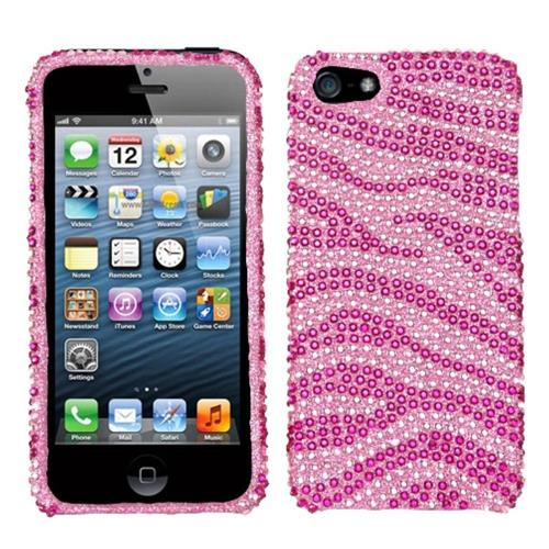 Insten Zebra Hard Diamond Cover Case For Apple iPhone 5/5S/SE, Hot Pink/Pink