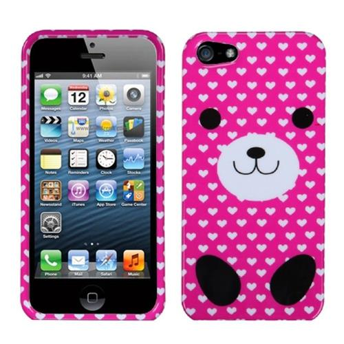 Insten Dog Hard Case For Apple iPhone 5/5S/SE, Hot Pink/White