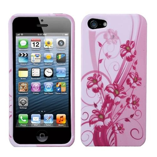 Insten Blooming Lily Hard Cover Case For Apple iPhone 5/5S/SE, Pink