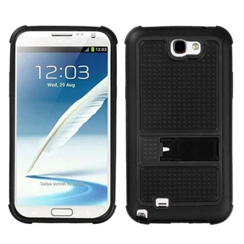 Insten Gummy Hard Plastic Silicone Case w/stand For Samsung Galaxy Note II, Black