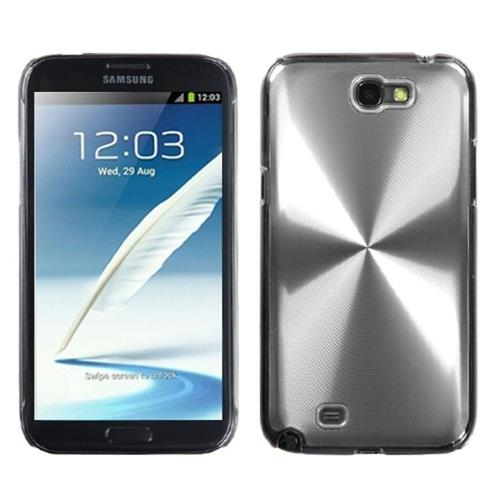 Insten Cosmo Aluminum Metallic Hard Case For Samsung Galaxy Note II, Silver/Clear
